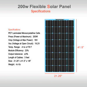 Flexible Solar Panel 200W Specifications